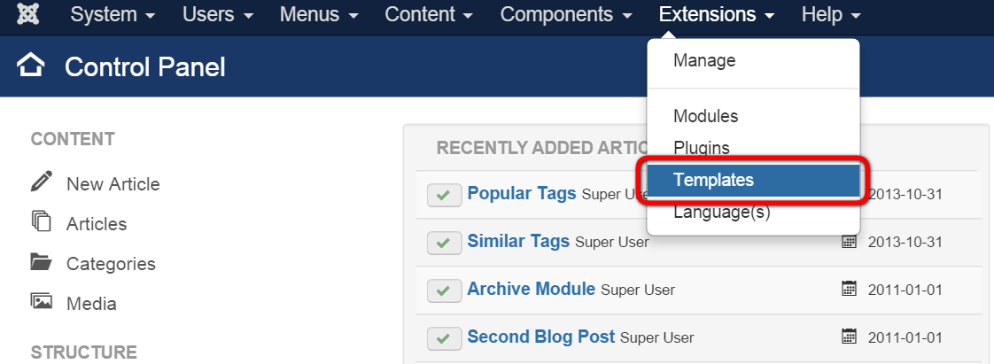 joomla how to change article category